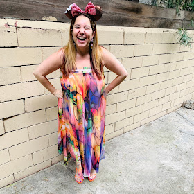Disney, Disney fashion, #DisneyStyle, #MinnieStyle, Minnie ears, #EarsOutsidetheParks, fashion challenge, Disney fashion challenge, Mickey Treat ears, ice cream, maxi dress