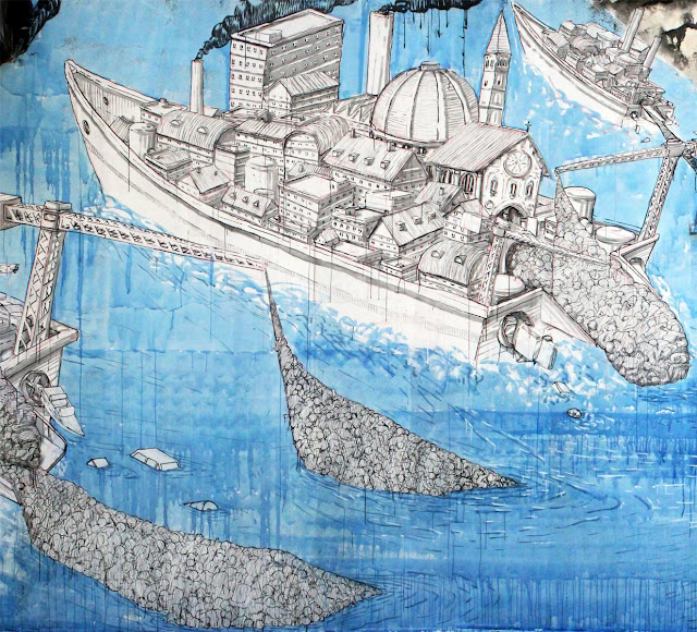 Street Art By Blu in Messina At Teatro Pinelli Occupato. - boat details 2
