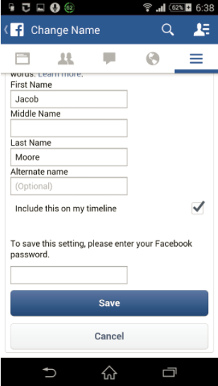 how to change password on facebook mobile app