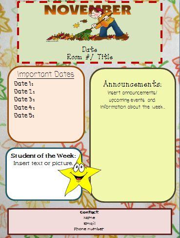 nov+newsletter+pic November Teacher Newsletter Template on owl theme, for first grade, free preschool,