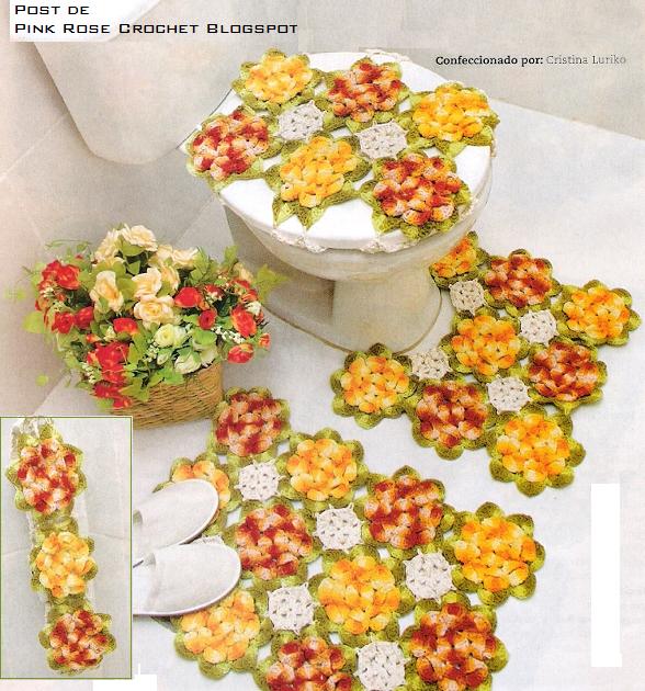 Tapete Floral Para Banheiro : PINK ROSE CROCHET: Tapete para Banheiro Flores Coloridas