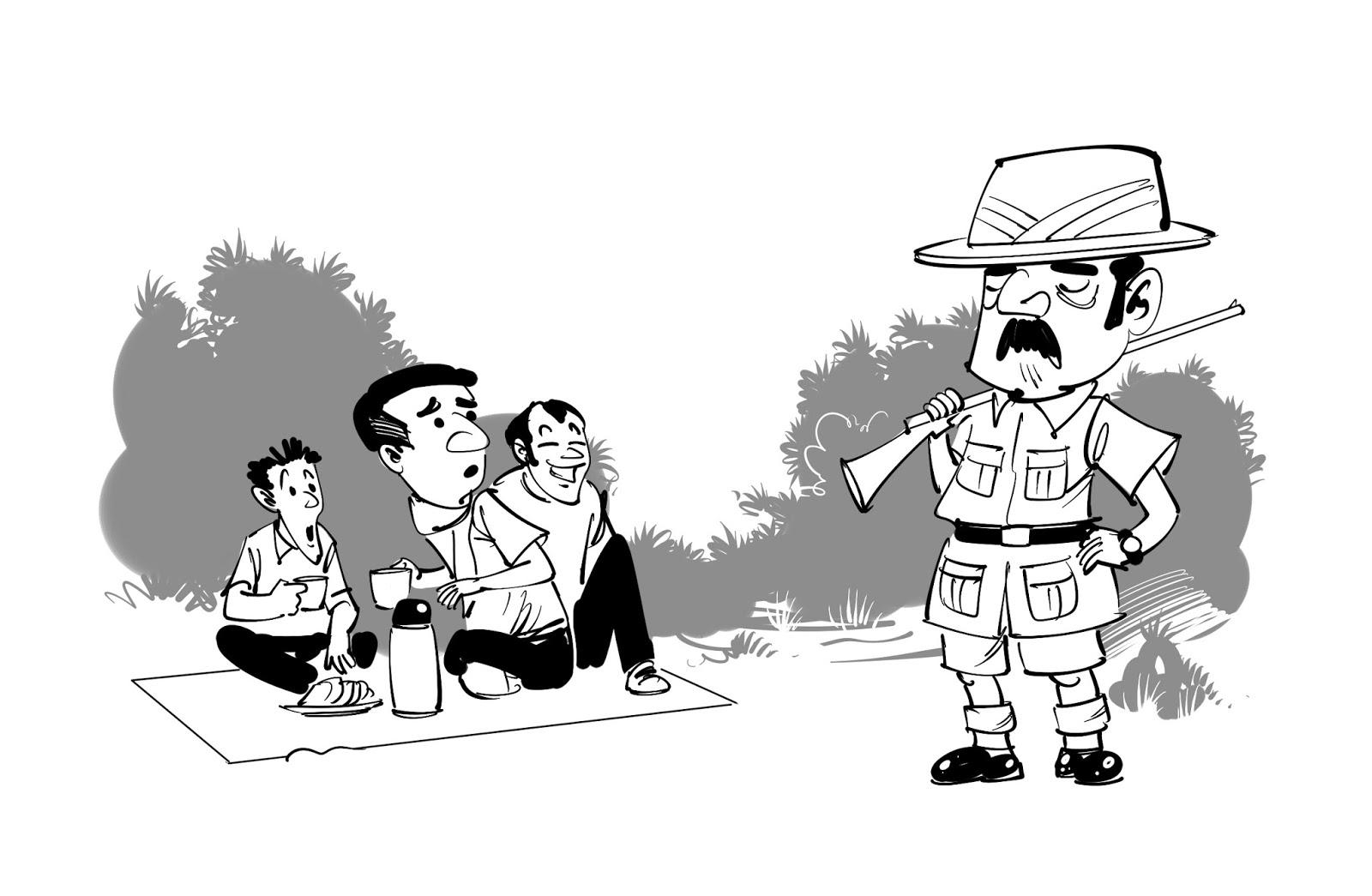 kids book illustration funny proud hunter in uniform and gun