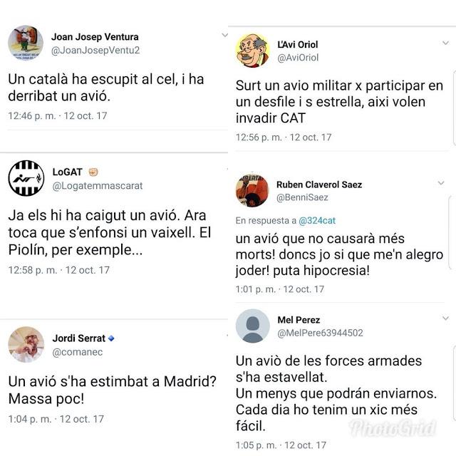 Catalanistas celebrando derribo avión fuerzas armadas