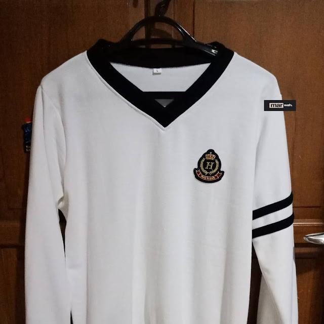 Sweatshirt white black stripe