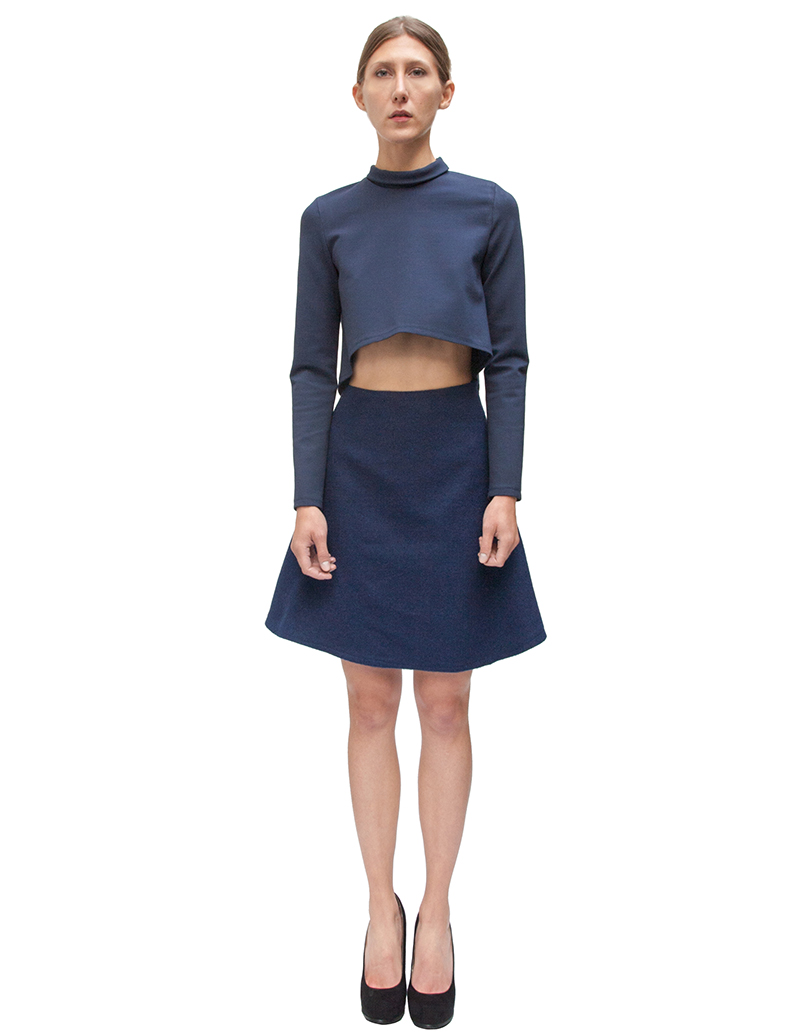 mermaid flare skirt, navy skirt, midi skirt, metallic skirt, couture, alyssa nicole, alyssa nicole fall 2014, turtle neck blouse, cropped blouse, san francisco fashion, sf style