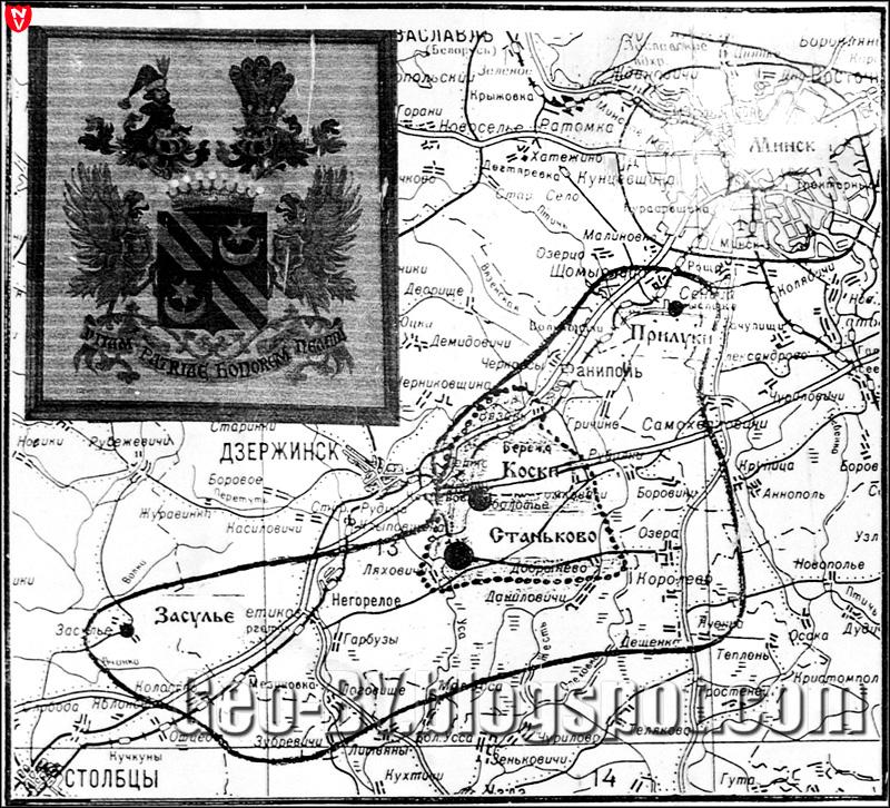 Карта поместья Гуттен-Чапского