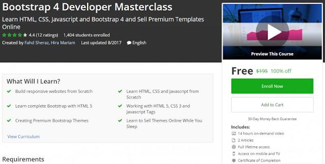 [100% Off] Bootstrap 4 Developer Masterclass| Worth 195$