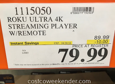 Deal for the Roku Ultra 4K Streaming Player at Costco