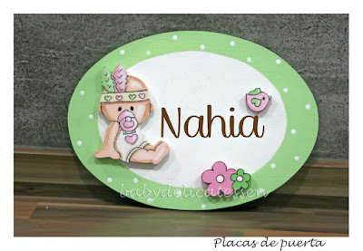 placa de puerta infantil bebé india nombre Nahia babydelicatessen