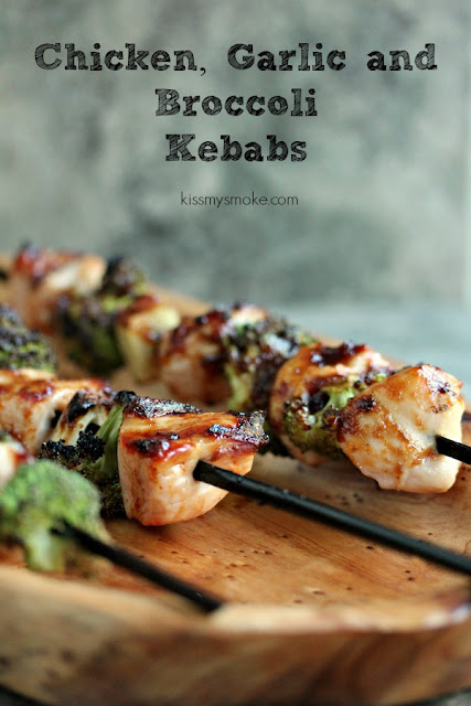 Chicken, Garlic, and Broccoli Kebobs