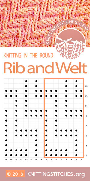 Knitting Pattern - Rib and Welt stitch in the round