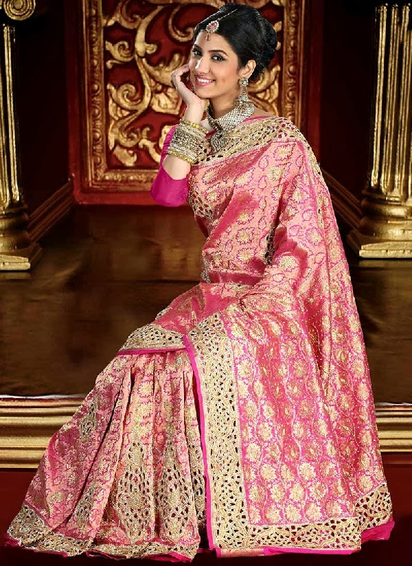 Latest Brocade Bridal Saree Collection 2013/2014