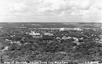 1950s view of Kerrville from the top of Tivy Mountain