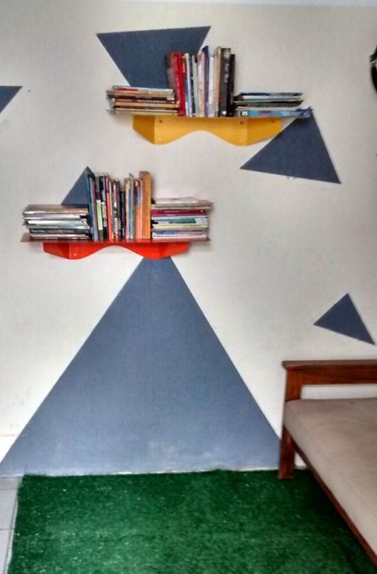 casas Taiguara, a casa eh sua, acasaehsua, pintar parede, parede geométrica, biblioteca