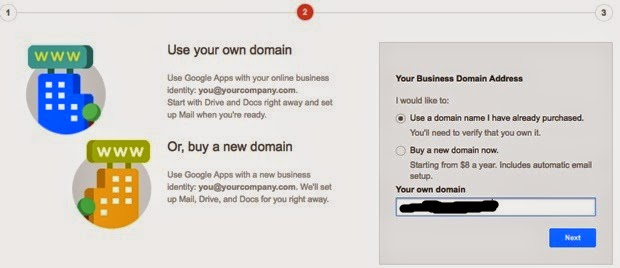 how to buy an email domain with google account