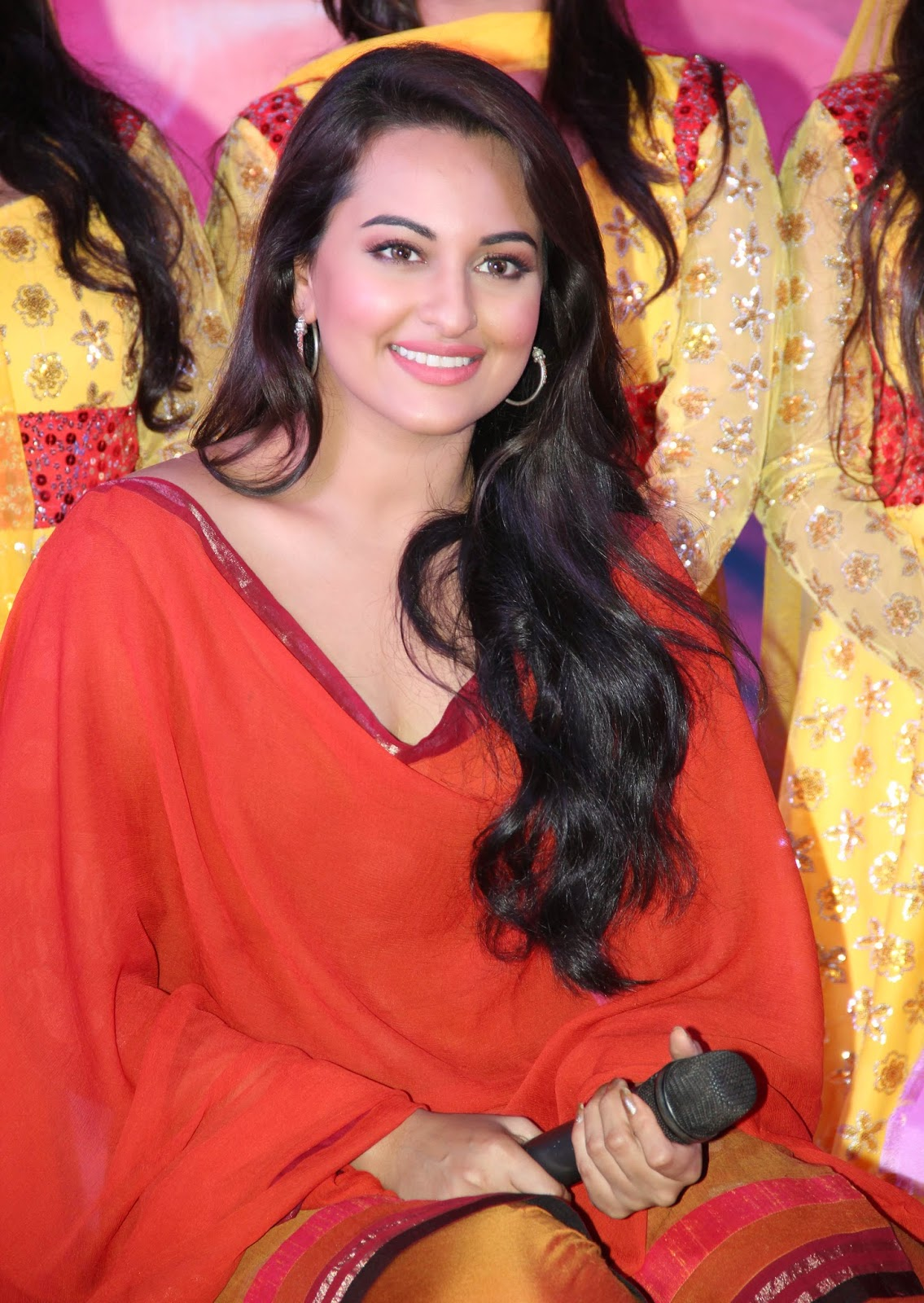 Sonakshi Sinha Spicy Stills In Colorful Red Dress
