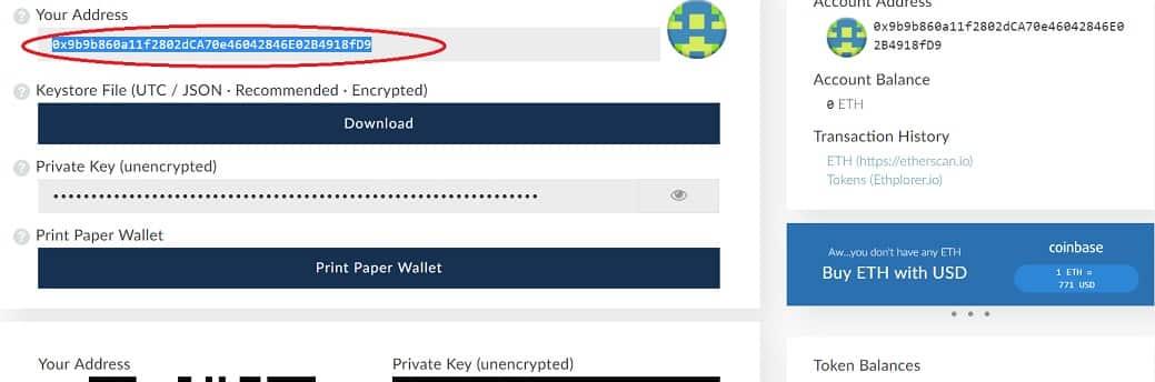 dirección myetherwallet request REQ