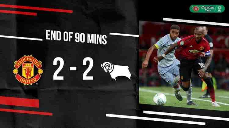 Hasil Manchester United vs Derby County Skor Akhir (7) 2-2 (8)