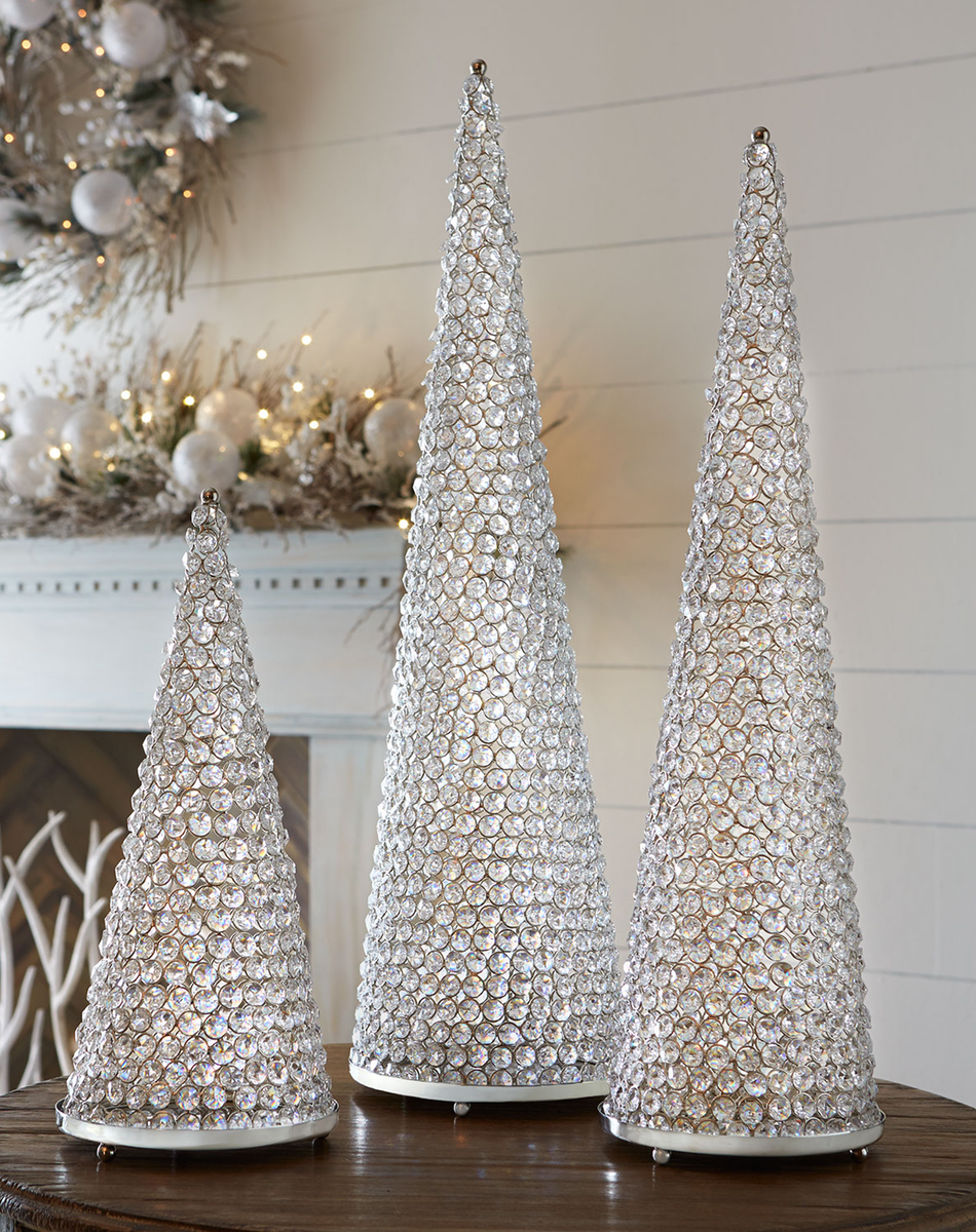 "Neiman Marcus Crystal 30"" Cone Tree with Plate (each tree sold separately)"