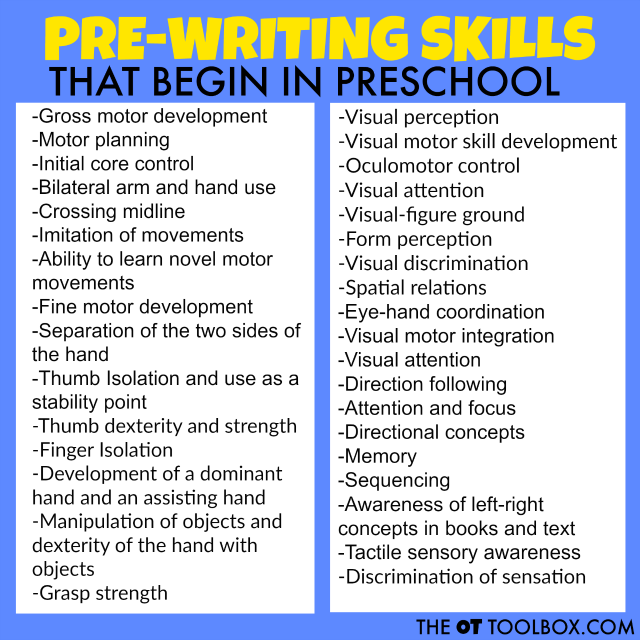 Pre-writing skills start to develop in preschool aged kids.