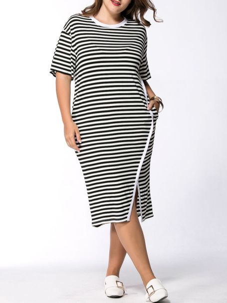 Striped Pocket Round Neck Slit Midi Plus Size Shift Dress -Flash Sale (Extra 15% Off): US$24.61