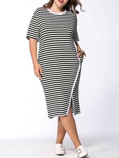 Striped Pocket Round Neck Slit Midi Plus Size Shift Dress -Flash Sale (Extra 15% Off): US$24.61