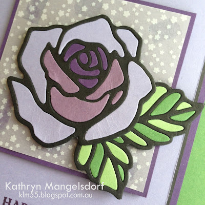 Stampin' Up! Rose Garden Thinlits, Rose Wonder, Stained Glass Technique, birthday card by Kathryn Mangelsdorf