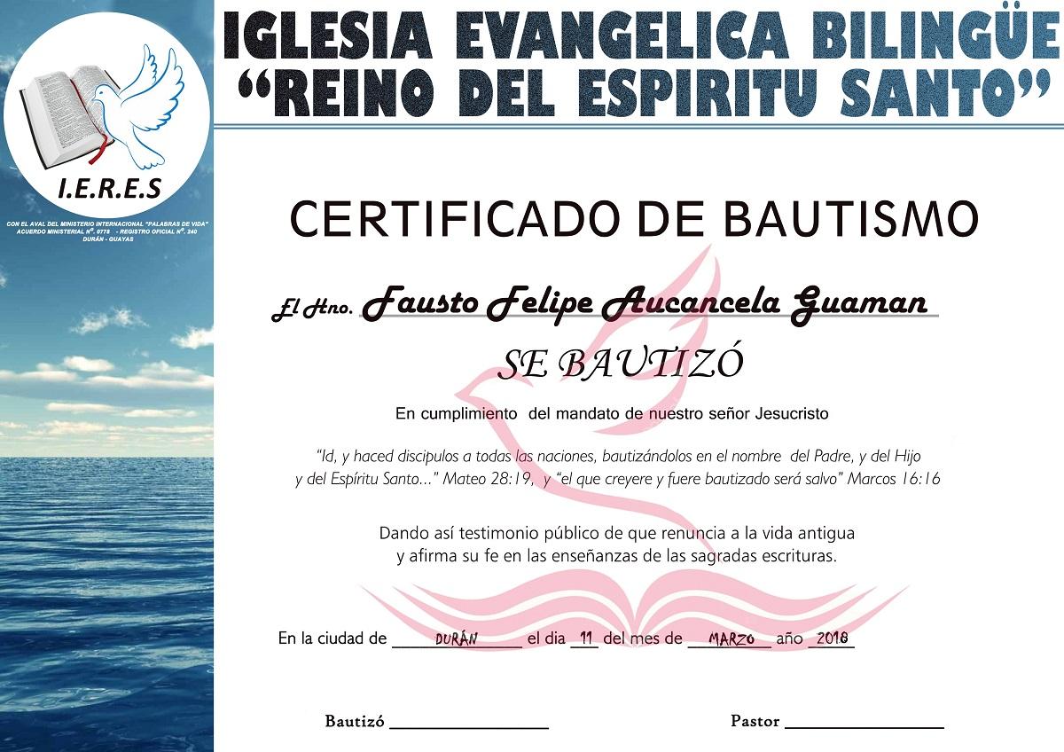 Certificado de bautismo en agua plantilla psd