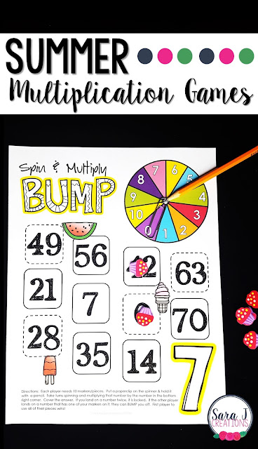 Summer multiplication games for learning fun!