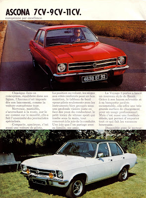 Sales brochure page for Opel Ascona A series