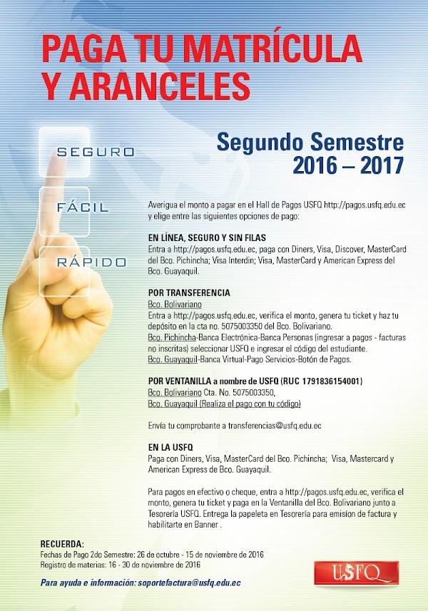Paga tu matrícula y aranceles del segundo semestre 2016 - 2017