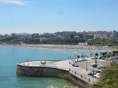 This is one of the large beaches on a beautiful Sunday in Santander