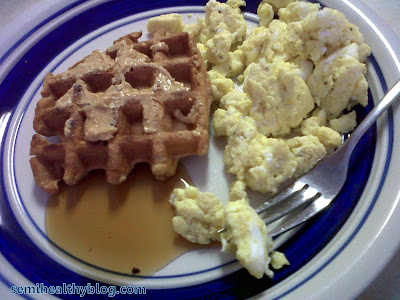 Homemade waffles and fluffy eggs