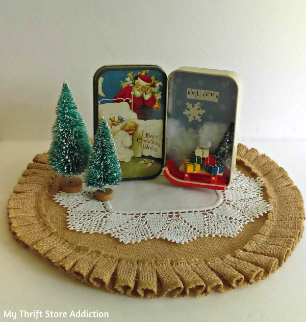 upcycled Christmas tin diorama