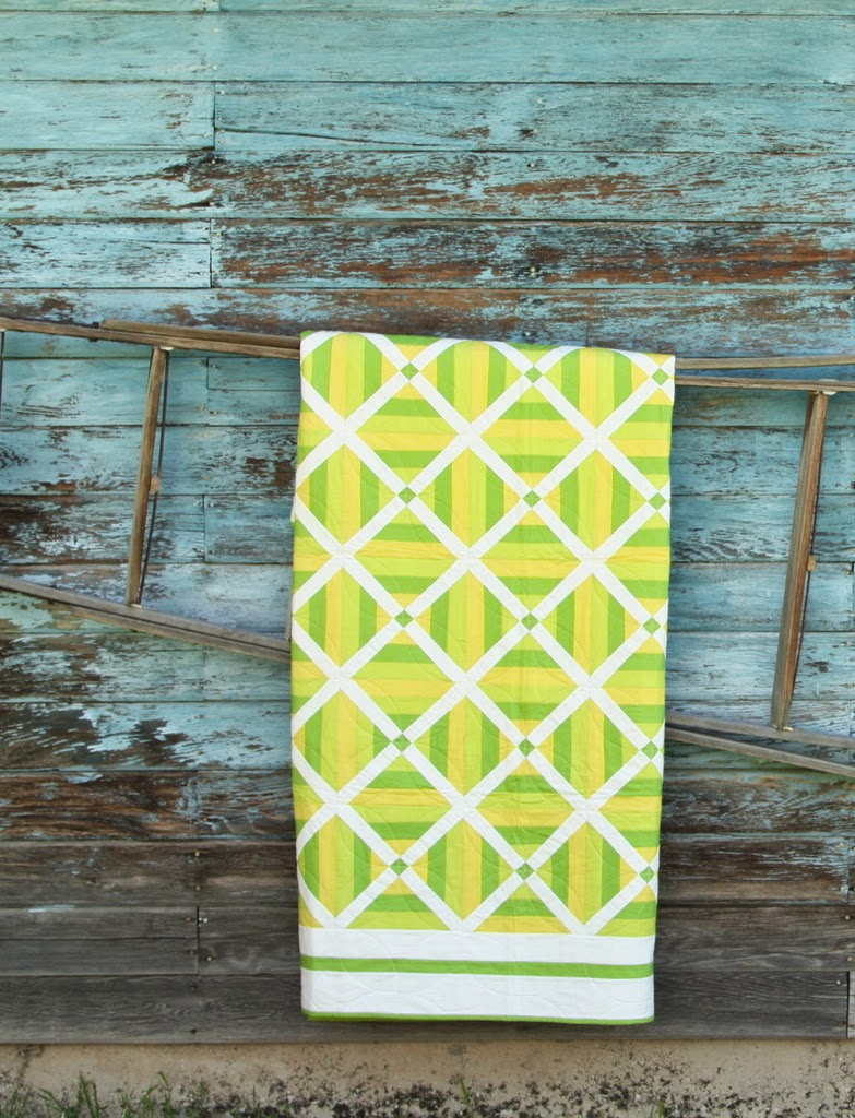 Green and white quilt pattern, Crossing Guard, by Amy Smart