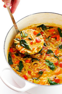 bowl of italian orzo soup vegetarian