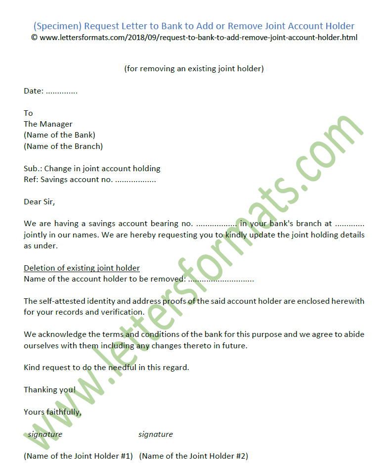 joint account letter