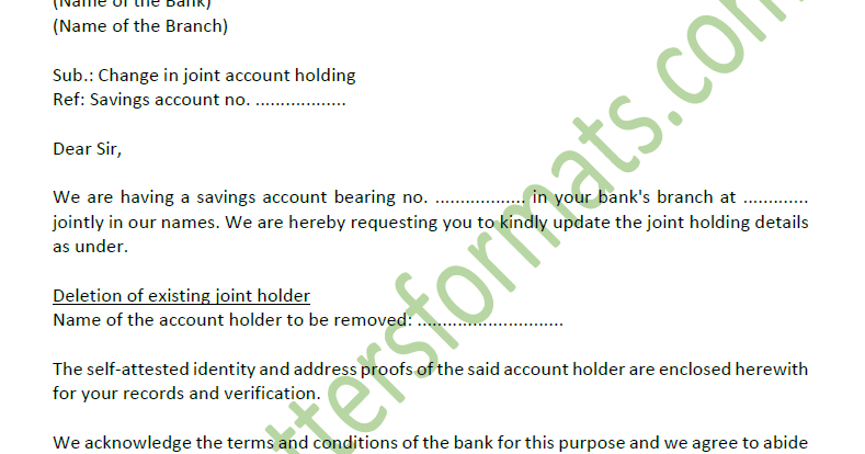 letter for joint account in bank