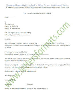 letter to bank manager for change of joint account holder