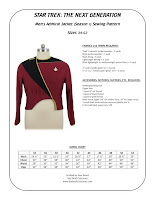 Star Trek TNG men's season 1 admiral jacket sewing pattern