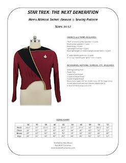 Men's TNG season 1 admiral jacket pattern