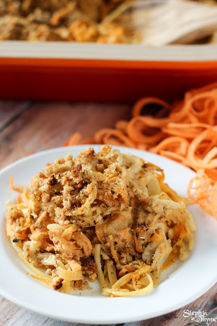 Spiralized Root Vegetable Casserole with Vegan Shallot Alfredo Sauce by Steph in Thyme
