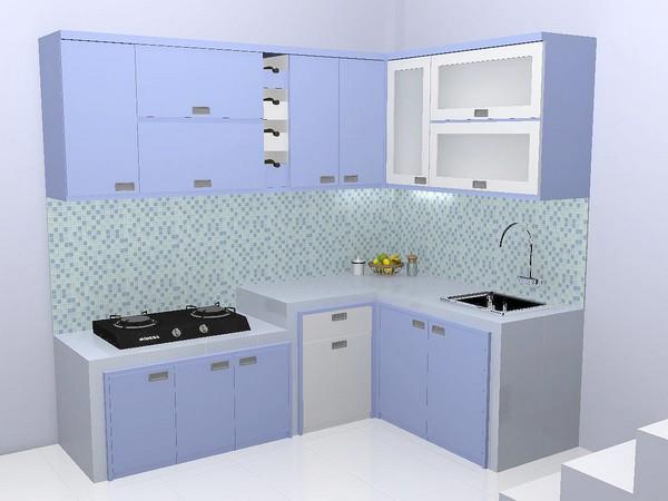Kitchen Set Bentuk L L Shape Desain Warna Biru Handle Tanam
