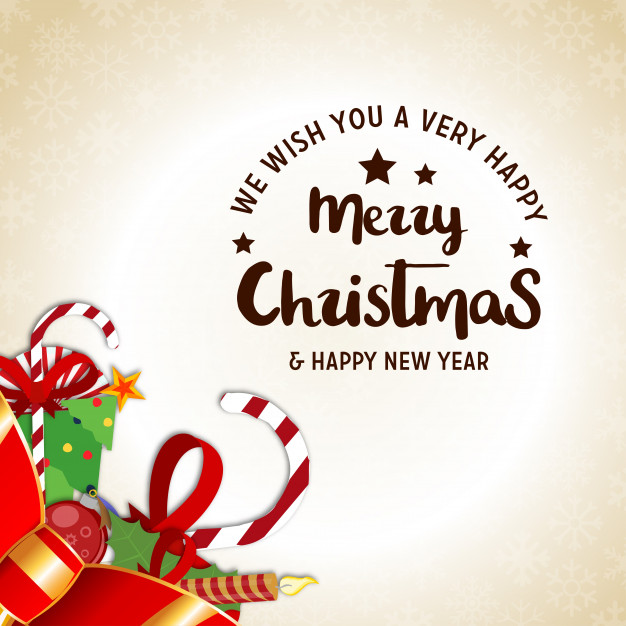 Christmas poster having creative christmas typography and christmas realistic elements Free Vector