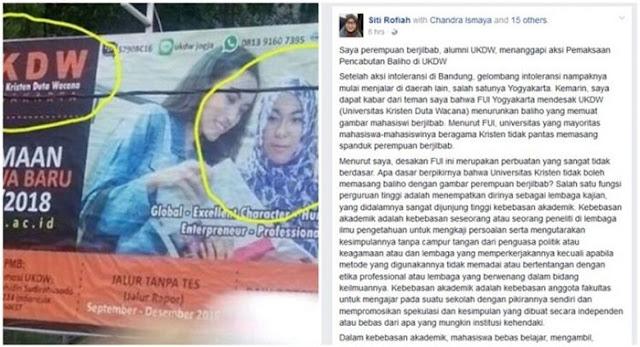 Curhatan Alumni UKDW Soal Pencopotan Baliho Mahasiswi Berjilbab Ini Jadi Viral, Begini Isinya