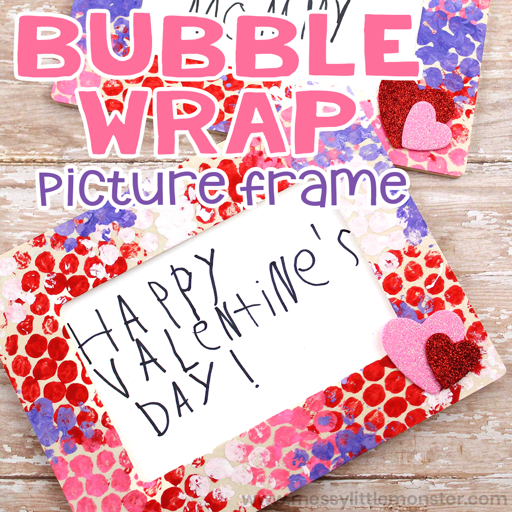 Bubble wrap painting picture frame. Valentines day craft for kids.
