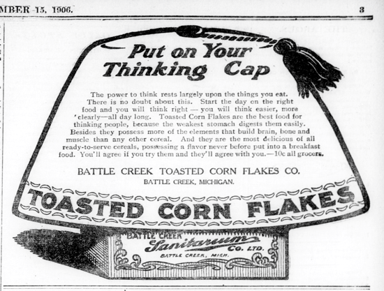 Sanitas Toasted Corn Flakes, advertising Sept. 15, 1906