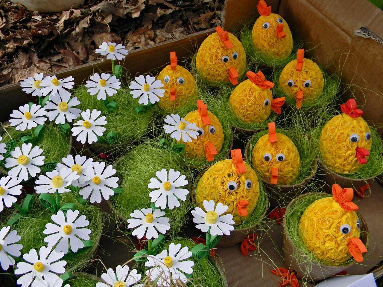rękodzieło, quilling, kwiaty, jarmark, Wielkanoc