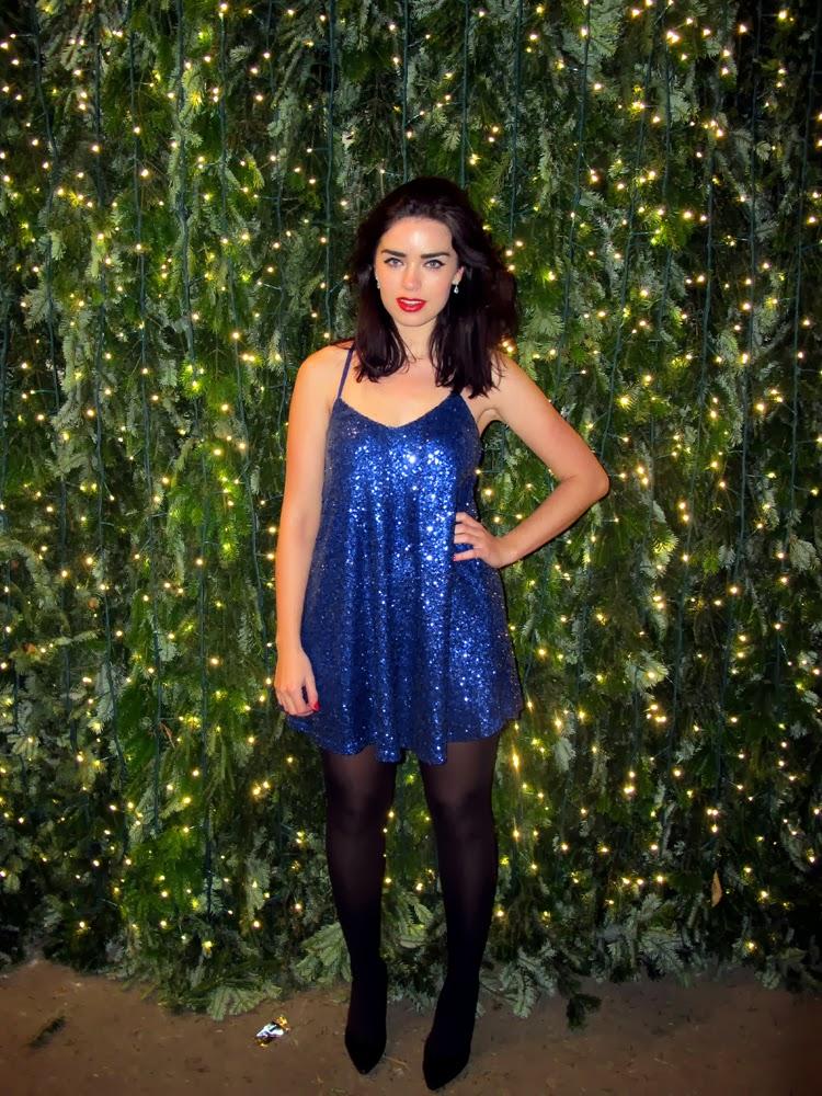 Emma Louise Layla in royal blue sequin Boohoo minidress