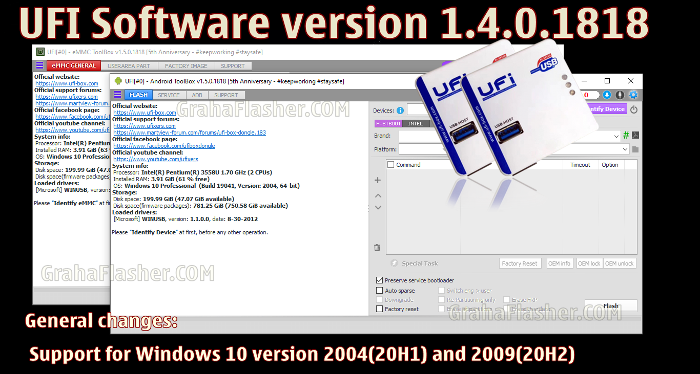 UFI Software version 1.4.0.1818